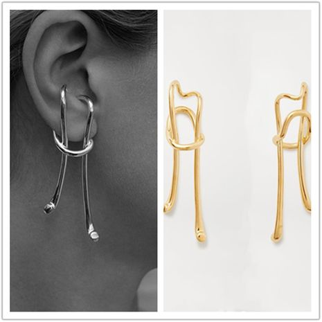new tide earrings exaggerated personality design gold retro long ear clips pierced ears wholesale nihaojewelry NHYQ220350's discount tags