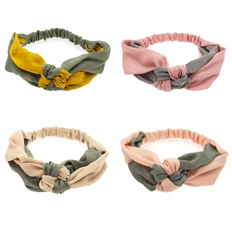 fashion hair band Korean fabric two-color knotted elastic headband sweet hair hoop creative exquisite headwear wholesale NHDQ220356's discount tags