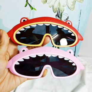 Fashion Trend Korean Shark Whale Baby Sunglasses Silicone One Large Frame Comfortable Decoration Sunglasses wholesale nihaojewelry NHBA220363's discount tags