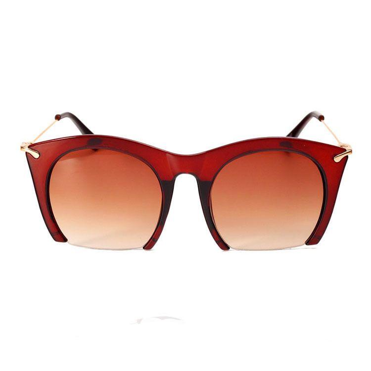retro large frame thin face cat eye half frame sunglasses fashion ultra black sunglasses ladies sunglasses wholesale nihaojewelry NHBA220399