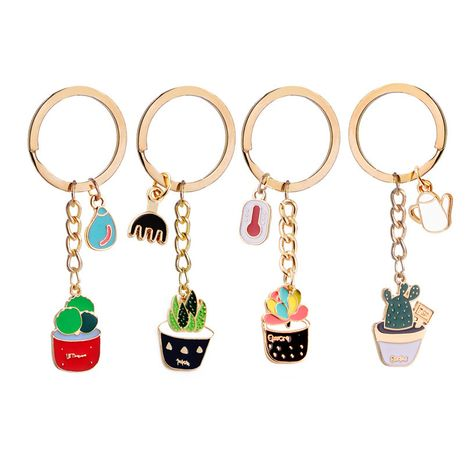 Fashion explosion keychain wild plant keychain environmental protection alloy dripping oil potted keychain small pendant wholesale nihaojewelry NHMO220453's discount tags
