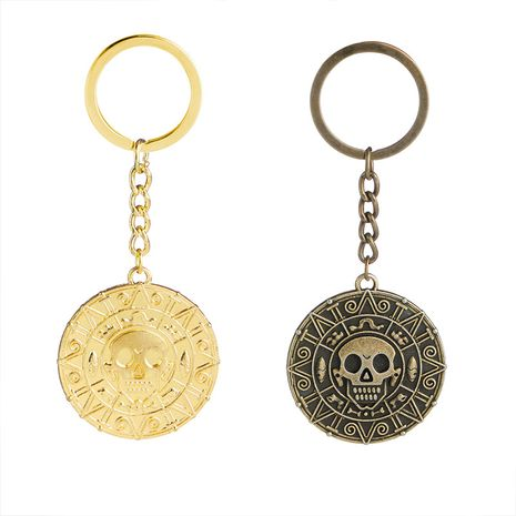 Explosion Keychain Caribbean Pirate Skull Gold Coin Keychain Hot Accessories wholesale nihaojewelry NHMO220455's discount tags