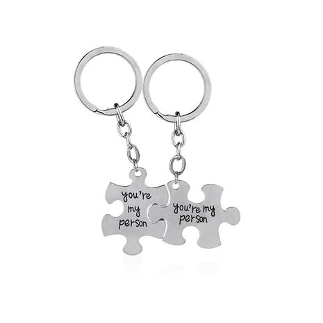 explosion key chain hot sale You are my person alphabet puzzle alloy key chain wholesale nihaojewelry NHMO220457's discount tags