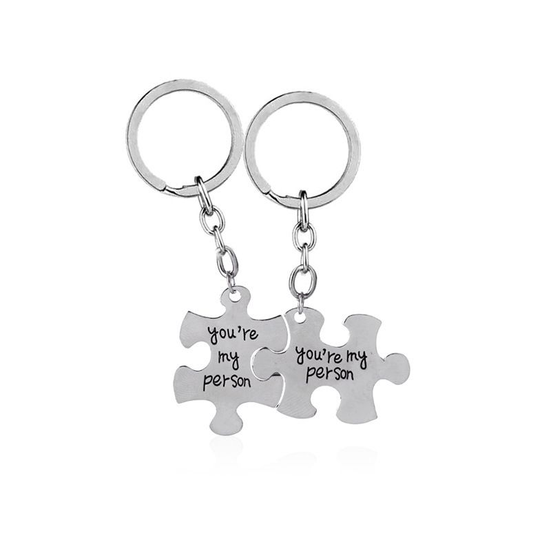 explosion key chain hot sale You are my person alphabet puzzle alloy key chain wholesale nihaojewelry NHMO220457