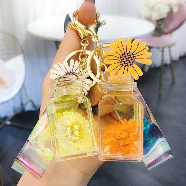 Japanese fresh daisy wishing bottle key chain cartoon cute girl bag pendant car key chain ring wholesale nihaojewelry NHBM220531