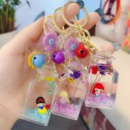 Liquid princess small bottle quicksand wishing bottle pendant key ring school bag hanging ornament bag key chain ring wholesale nihaojewelry NHBM220536