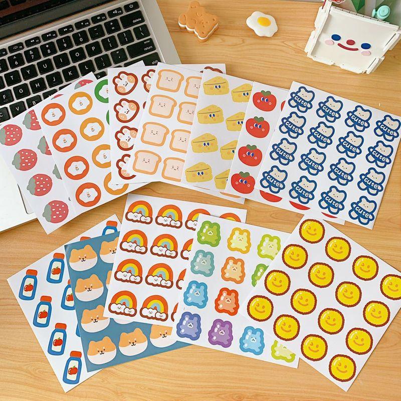 rainbow bear student Japanese cute hand account decorative sticker mobile phone shell wall DIY sealing sticker wholesale nihaojewelry NHZE220579