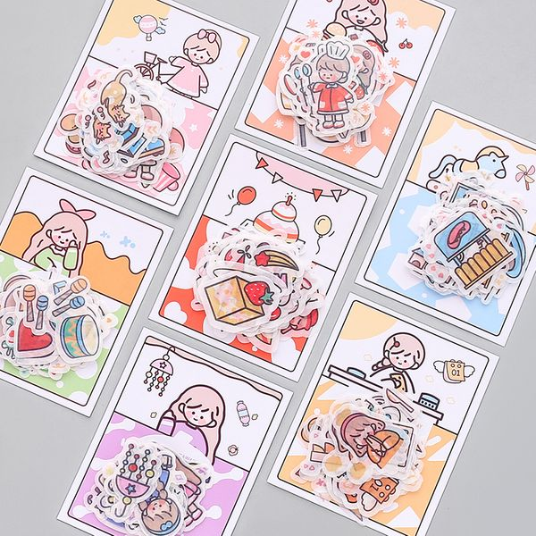 Girl cute character small stickers Japanese hand account and paper decoration material wind mobile phone shell water cup sticker pack wholesale nihaojewelry NHZE220590