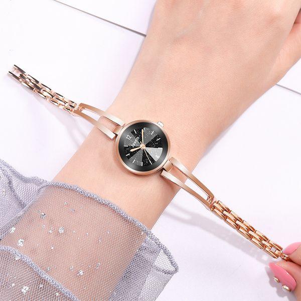temperamento pulsera pequeña y fina reloj de cuarzo moda corte de agua cara brillante estudiante pulsera reloj al por mayor nihaojewelry NHSS220610