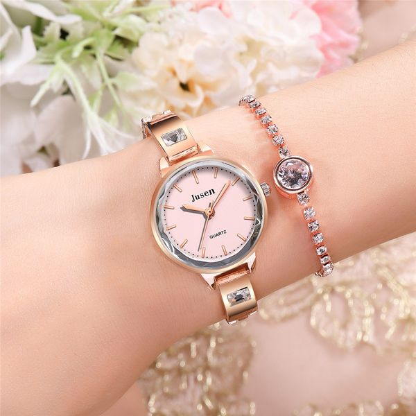 fashion simple girl's bracelet watch temperament wild water diamond British steel belt ladies watch wholesale nihaojewelry NHSS220629