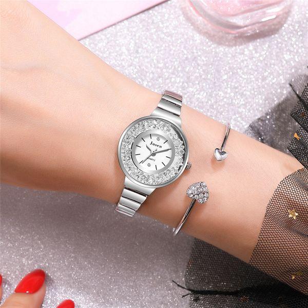 Korean fashion rhinestone ball steel belt watch fashion watch temperament wild quartz fashion watch wholesale nihaojewelry  NHSS220630