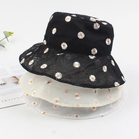 Sombrero de pescador nuevo bordado pequeño margarita sombrero para el sol flor coreana sección delgada salvaje malla transpirable sombrero de cuenca al por mayor nihaojewelry NHXO220639's discount tags
