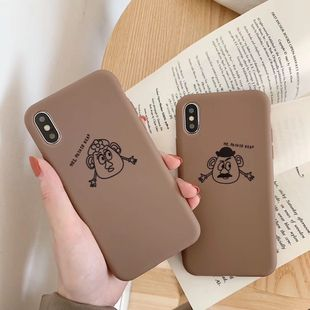 Cute egg head cartoon 8plus mobile phone case suitable for iPhone X MAX XR 7plus painted TPU soft phone case anti-fall wholesale nihaojewelry NHFI220720's discount tags