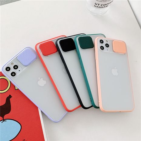 Transparent sliding lens protective cover for iPhone xs 11 promax mobile phone case iPhone7 8plus SE phone case wholesale nihaojewelry NHFI220723's discount tags