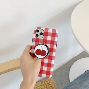 Korean style red lattice cherry bracket protective cover suitable for Apple 11 MAX 8plus mobile phone case iphoneXR wholesale nihaojewelry NHFI220724's discount tags
