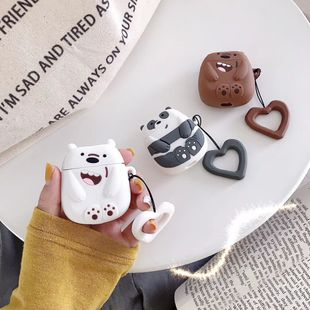 Cute Korean style Bear AirPods Pro 3 Apple Wireless Headphone Charging Storage Box Silicone Anti-fall Suitable wholesale nihaojewelry NHFI220729's discount tags