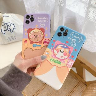 Cute Makeup Kitty Bear iPhone 11Promax Mobile Shell 7plus Soft Case for XS Max XR Silicone phone case wholesale nihaojewelry NHFI220730's discount tags