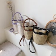 fashion straw woven contrasting color bucket bag new wave summer Korean fashion shoulder messenger bag  wholesale nihaojewelry NHPB220750