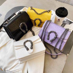 Nueva moda coreana verano wild chain messenger bolso cuadrado pequeño cocodrilo textura solo hombro bolsa de viaje al por mayor nihaojewelry NHPB220776's discount tags