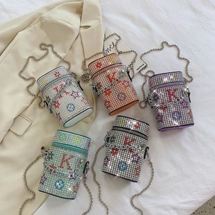 Nueva moda coreana verano marea salvaje textura cadena de diamantes solo hombro bolsa de lápiz labial carta bolso bandolera venta al por mayor nihaojewelry NHPB220791's discount tags