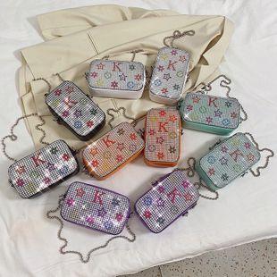 Nueva hada de verano de diamantes brillantes bolso de teléfono de hombro cadena de alfabeto oblicua pequeña bolsa cuadrada al por mayor nihaojewelry NHPB220794's discount tags
