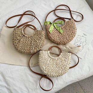 Bolso bandolera de arco de nueva moda de verano bolso de hombro curvo de arco salvaje tejido simple al por mayor nihaojewelry NHPB220799's discount tags