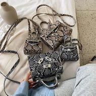 new Korean fashion lock single shoulder messenger bag summer wild snakeskin pattern portable Kelly bag wholesale nihaojewelry NHPB220826