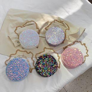 Nuevo verano coreano salvaje hombro messenger bag marea moda lentejuelas cadena portátil pequeño bolso redondo venta al por mayor nihaojewelry NHPB220832's discount tags