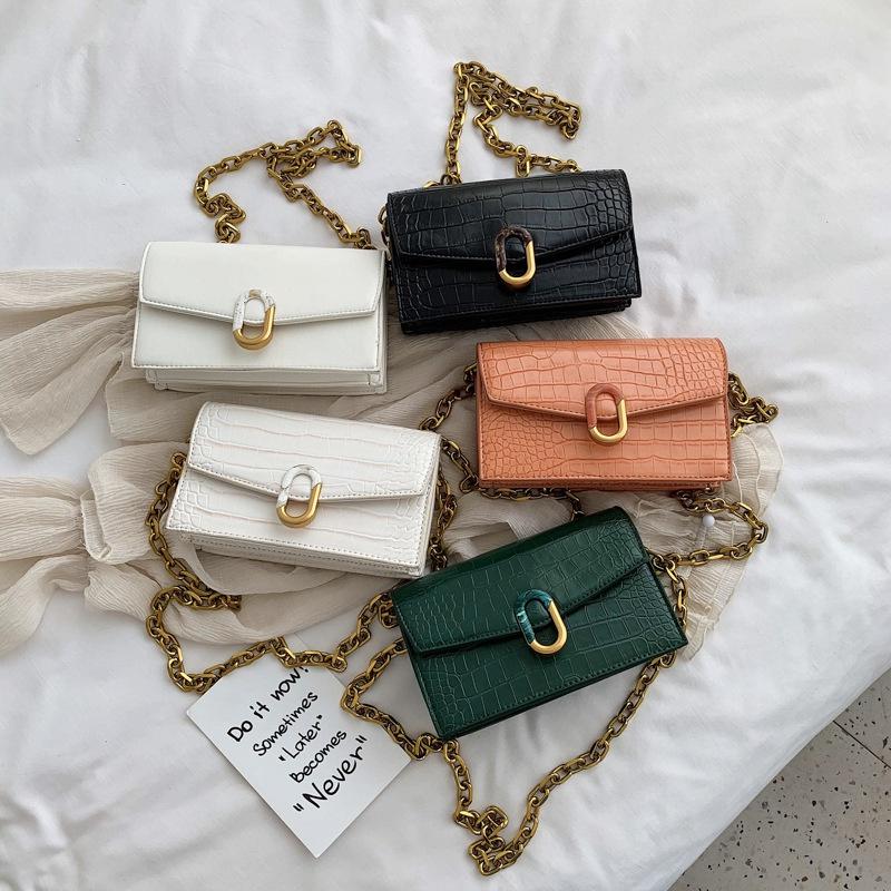 new summer fashion crocodile pattern envelope bag splicing lock chain single shoulder messenger small square bag wholesale nihaojewelry NHPB220837