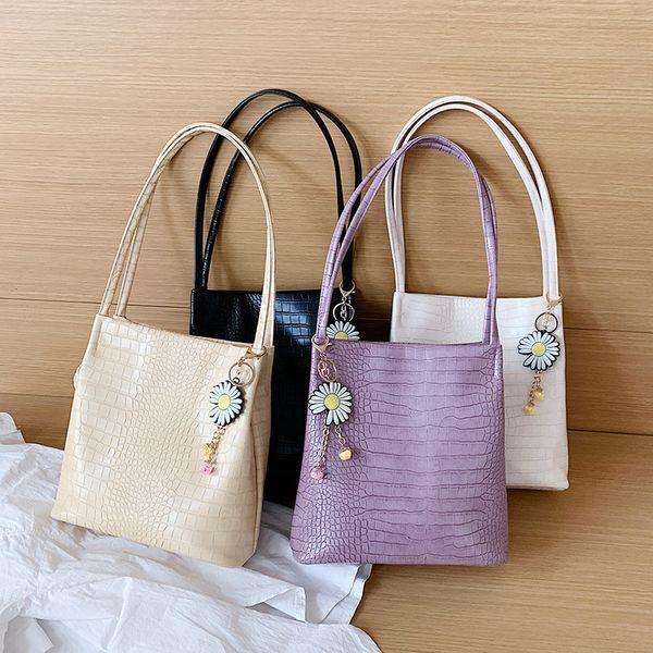 Retro wild large capacity crocodile pattern armpit bag new Korean fashion summer solid color shoulder bag wholesale nihaojewelry NHPB220842