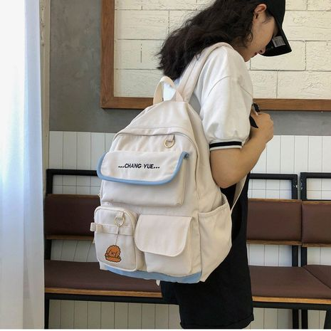 Schoolbag Korean simple wild college student backpack large capacity middle school junior student multi-pocket backpack  wholesale nihaojewelry NHHX220855's discount tags