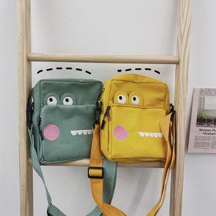 Harajuku creative funny personality embroidery small crocodile canvas shoulder bag student wild phone bag  wholesale nihaojewelry NHHX220864's discount tags
