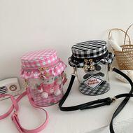 cute cartoon girl cute transparent doll messenger bag plaid shoulder bag wholesale nihaojewelry NHHX220865