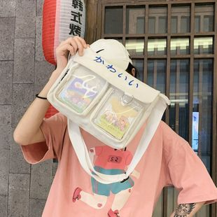 cute cartoon transparent canvas bag Korean chic student wild class package wholesale nihaojewelry NHHX220871's discount tags