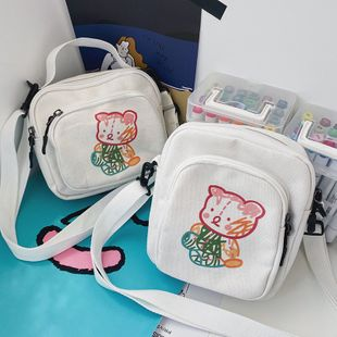 funny ugly cute dinosaur canvas shoulder bag vintage sense cute cartoon color bear messenger bag  wholesale nihaojewelry NHHX220874's discount tags