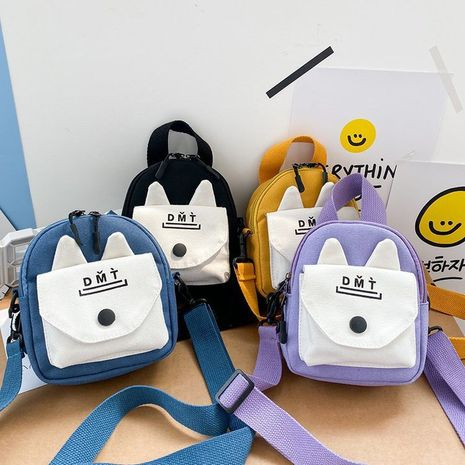 girl cute cute cartoon rabbit ears hit color canvas small bag wild casual student crossbody bag  wholesale nihaojewelry NHHX220875's discount tags