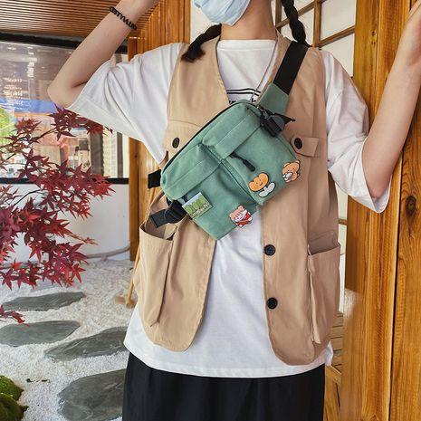 Vintage sense cute cartoon girl student wild canvas messenger bag Korean fashion Harajuku chest bag waist bag  wholesale nihaojewelry NHHX220880's discount tags