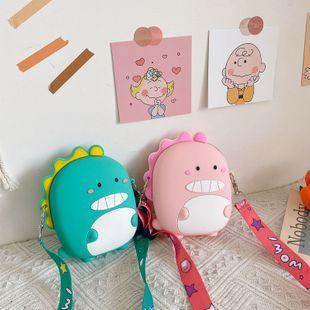 Silicone bag summer new girl bag cute cartoon little dinosaur coin purse shoulder chain bag  wholesale nihaojewelry NHGA220907's discount tags