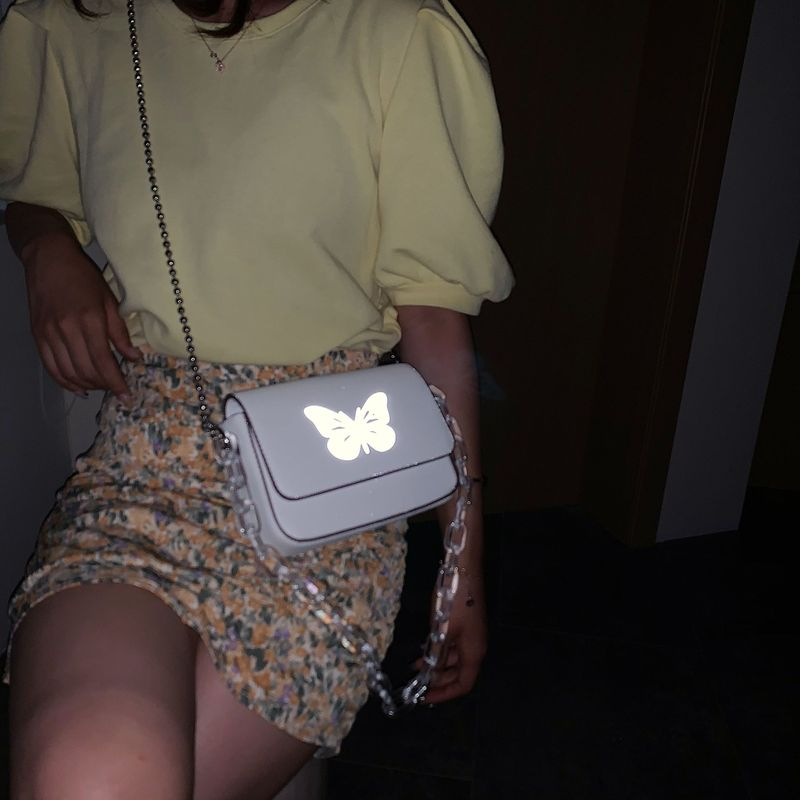 Reflective butterfly bag summer new bag acrylic transparent thick chain bag shoulder messenger small square bag  wholesale nihaojewelry NHGA220918
