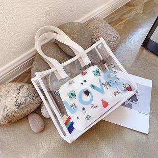 PVC transparent handbag bag summer new bag large capacity shoulder bag printing jelly bun mother bag  wholesale nihaojewelry NHGA220932's discount tags