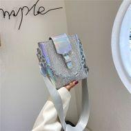 Laser bag summer new wave fashion Korean fashion diamond-set bag wide shoulder strap shoulder messenger bucket bag  wholesale nihaojewelry NHGA220958