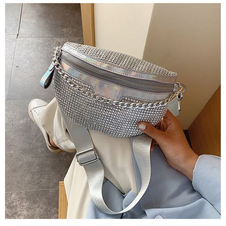 Personalized laser waist bag summer new Korean women's bag diamond shoulder bag fashion slung chest bag  wholesale nihaojewelry NHGA220960's discount tags
