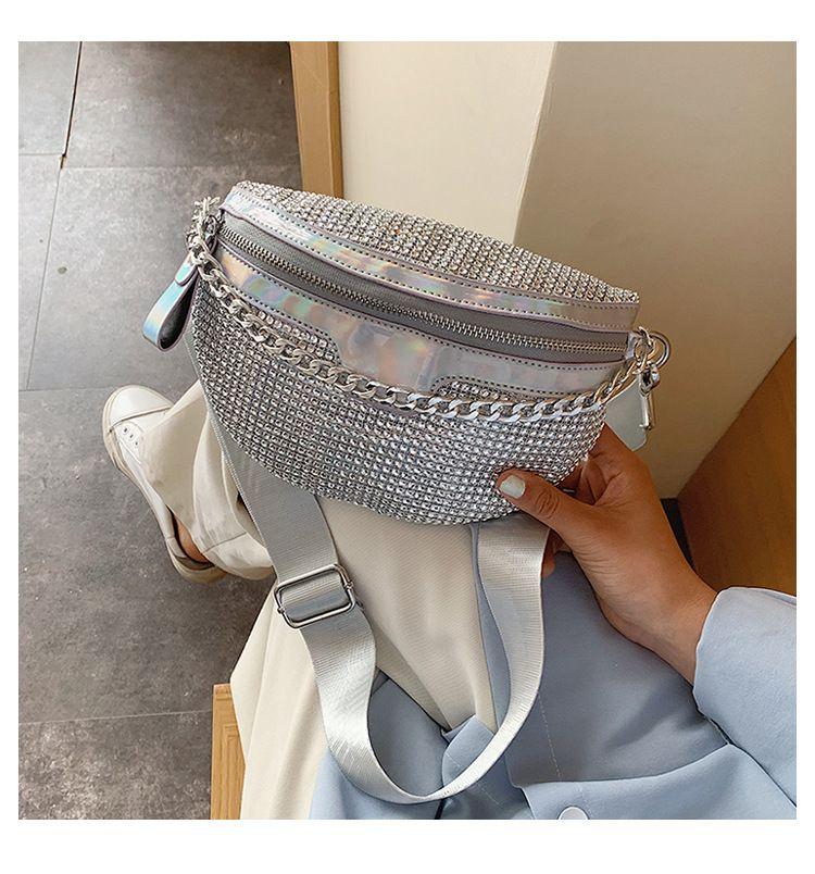 Personalized laser waist bag summer new Korean women's bag diamond shoulder bag fashion slung chest bag  wholesale nihaojewelry NHGA220960