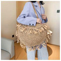 Verano nuevo bolso de borla hueco hombro tejido bolso de paja espiga papel tejido bolsa de playa bolso de moda al por mayor nihaojewelry NHGA220972