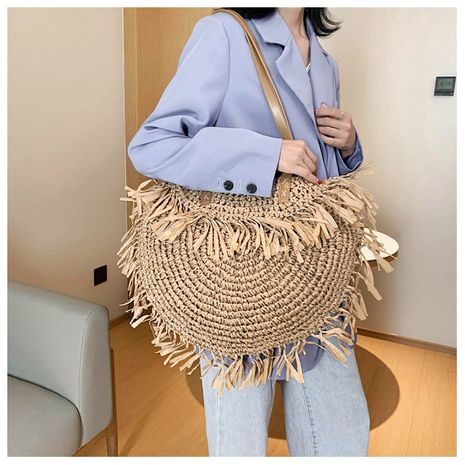 summer new hollow tassel bag shoulder woven straw bag spike paper woven bag beach bag fashion bag wholesale nihaojewelry NHGA220972's discount tags
