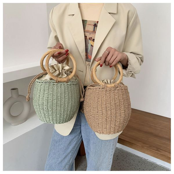Straw bag summer new bucket bag paper rope woven bag retro handbag environmental protection material beach bag  wholesale nihaojewelry NHGA220974