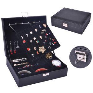 Caja de joyería patrón de piel de vaca caja de doble anillo caja de joyería caja de almacenamiento de joyería caja de almacenamiento de joyería venta al por mayor nihaojewelry NHHW220975