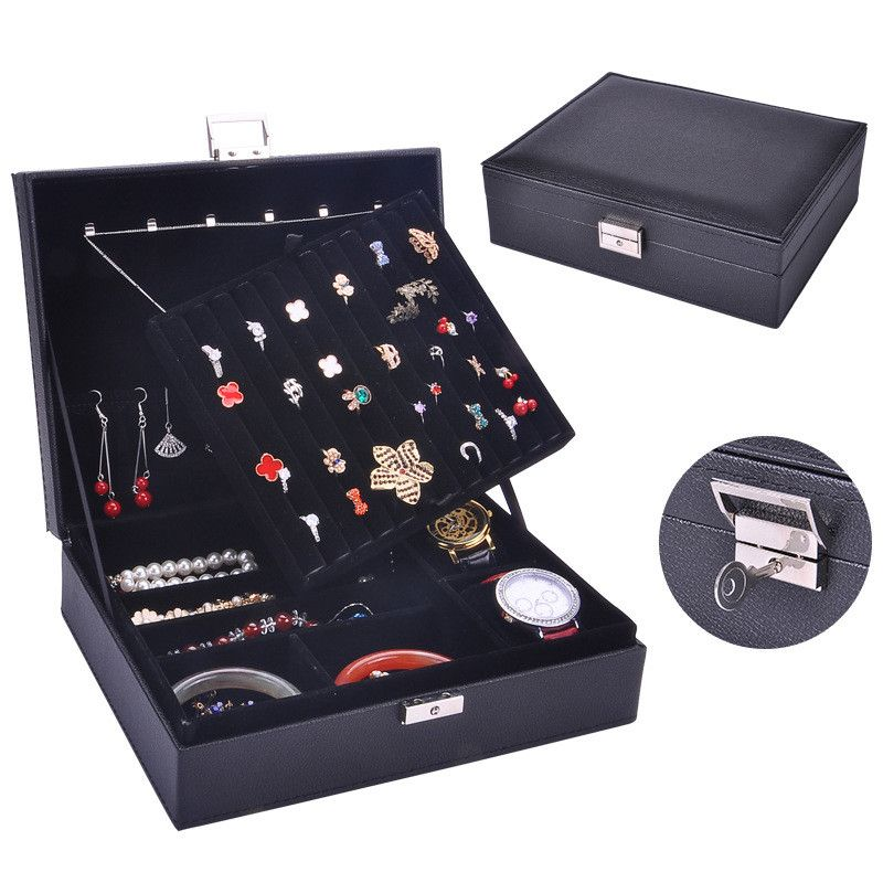Jewelry box cowhide pattern double ring box jewelry box jewelry storage box jewelry storage box wholesale nihaojewelry NHHW220975