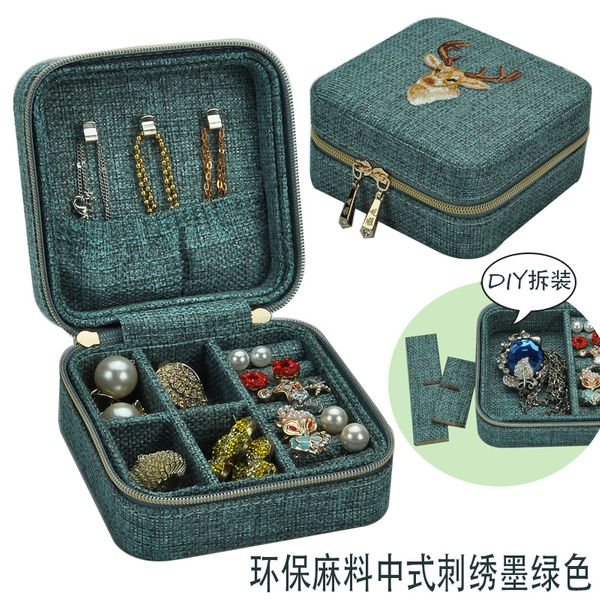 Bucks embroidery small jewelry box removable hemp material compact stud earrings storage box wholesale nihaojewelry NHHW220976