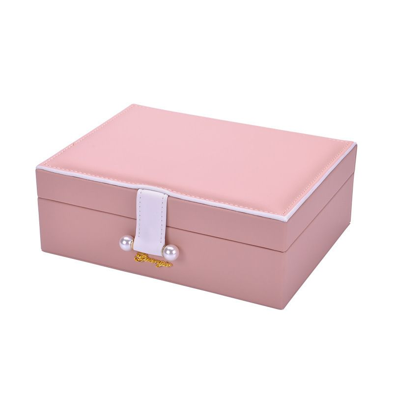 Korean fashion princess storage box earrings box solid color double-layer jewelry box women jewelry storage box wholesale nihaojewelry NHHW220979